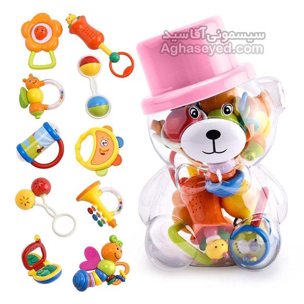 ست جغجغه طرح خرس کلاه کج کد00202018