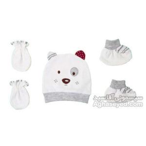 ست کلاه دستکش و پاپوش نوزاد مارک پاپو کد00201572