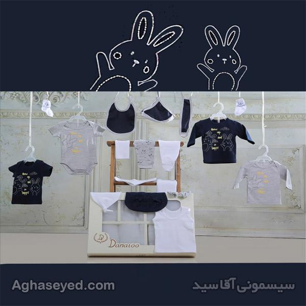 ست 19 تکه لباس نوزادی طرح خرگوش سورمه ای کد00210010