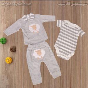 ست 3 تکه لباس نوزادی دانالو طرح بره کد00210011