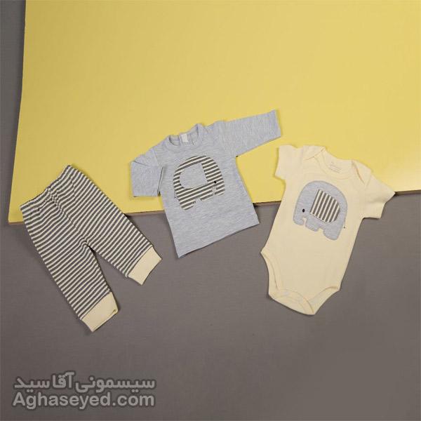 ست 3 تکه لباس نوزادی دانالو طرح فیل راه راه زرد کد00210011