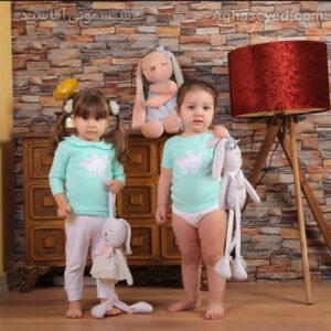 ست 3 تکه لباس نوزادی دانالو طرحخرگوش پاپیون کد00210011