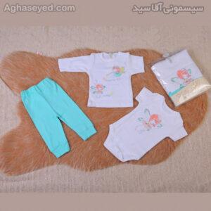 ست 3 تکه لباس نوزادی دانالو طرح فرشته کد00210011