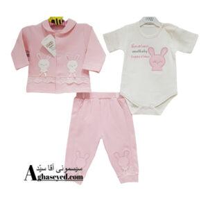 ست 3 تکه لباس نوزادی گودمارک طرح خرگوش چین دار کد00210008