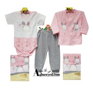 ست 3 تکه لباس نوزادی گودمارک طرح خرگوش طوسی کد00210008