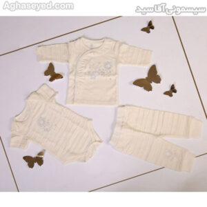 ست 3 تکه لباس نوزادی دانالو طرح گل کد00210011
