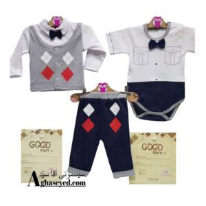 ست 3 تکه لباس نوزادی گودمارک طرح جلیقه کد00210008
