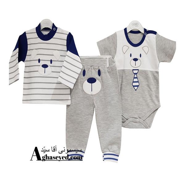 ست 3 تکه لباس نوزادی گودمارک طرح خرس کراوات دار کد00210008