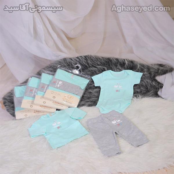 ست 3 تکه لباس نوزادی دانالو طرح قو کد00210011