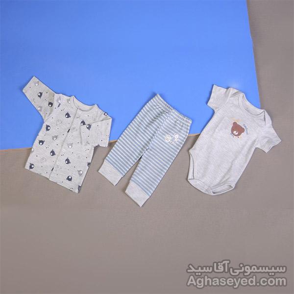 ست 3 تکه لباس نوزادی دانالو طرح خرس کد00210011