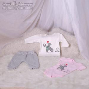 ست 3 تکه لباس نوزادی دانالو طرح گربه کد00210011