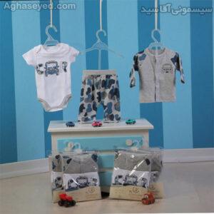 ست 3 تکه لباس نوزادی دانالو طرح ماشین کد00210011