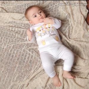 ست 3 تکه لباس نوزادی دانالو طرح شیر کد00210011