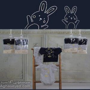 ست 3 تکه لباس نوزادی دانالو طرح خرگوش کد00210011