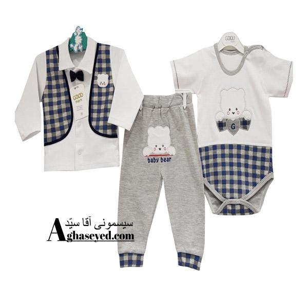 ست 3 تکه لباس نوزادی گودمارک طرح پاپیون کد00210008