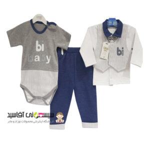 ست 3 تکه لباس نوزادی گودمارک طرح بی بیبی کد00210008