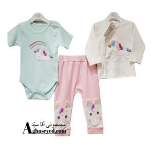 ست 3 تکه لباس نوزادی گودمارک طرح اسب تک شاخ کد00210008
