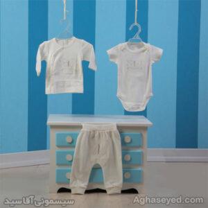 ست 3 تکه لباس نوزادی دانالو طرح پروانه کد00210011