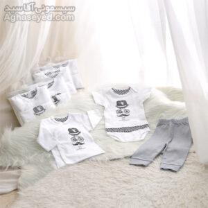 ست 3 تکه لباس نوزادی دانالو طرح سیبیل کد00210011