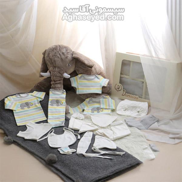 ست 19 تکه لباس نوزادی دانالو طرح فیل راه راه کد00210010