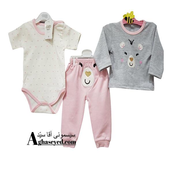 ست 3 تکه لباس نوزادی گودمارک طرح خرس طوسی کد00210008