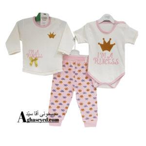 ست 3 تکه لباس نوزادی گودمارک طرح تاج کد00210008