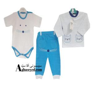 ست 3 تکه لباس نوزادی گودمارک طرح گربه پسرانه کد00210008