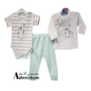 ست 3 تکه لباس نوزادی گومارک طرح پنگوئن کد00210008