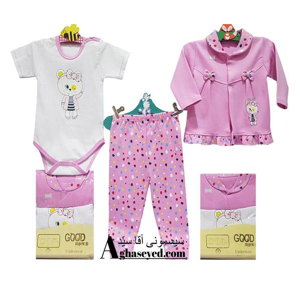 ست 3 تکه لباس نوزادی گودمارک طرح خرس پاپیون کد00210008