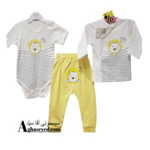 ست 3 تکه لباس نوزادی گودمارک طرح شیر کد00210008
