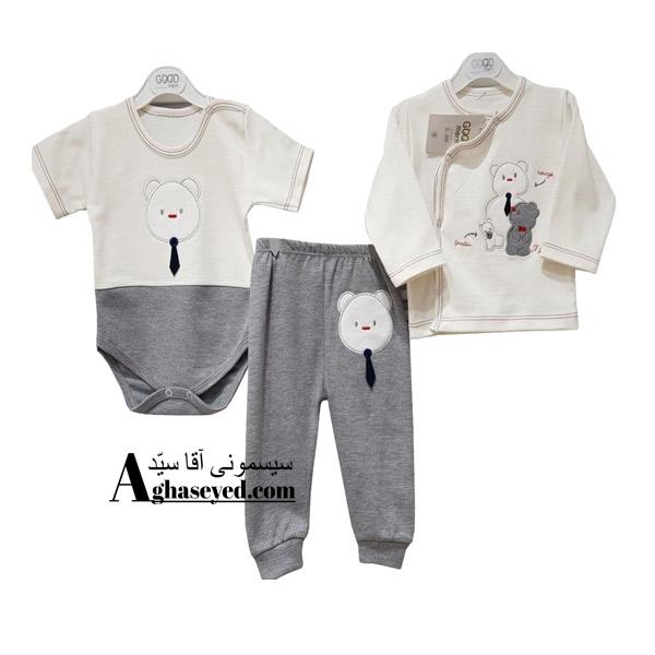 ست 3 تکه لباس نوزادی گودمارک طرح کراوات کد00210008
